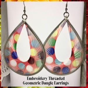 "4"" Embroidery Threaded Hollow Geometric Earrings"